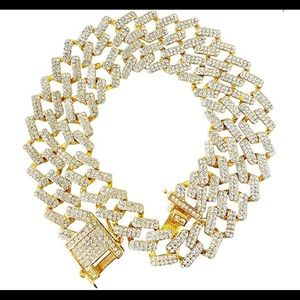 0749 Unisex Hip Hop Iced Out Shiny Silver Gold